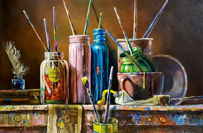 Original Oil Painting: Artist's brusher