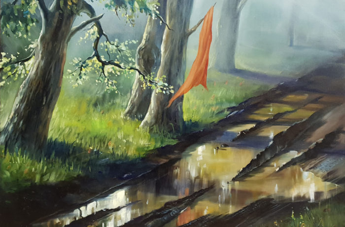 Original Oil Painting: Paddle in the forest