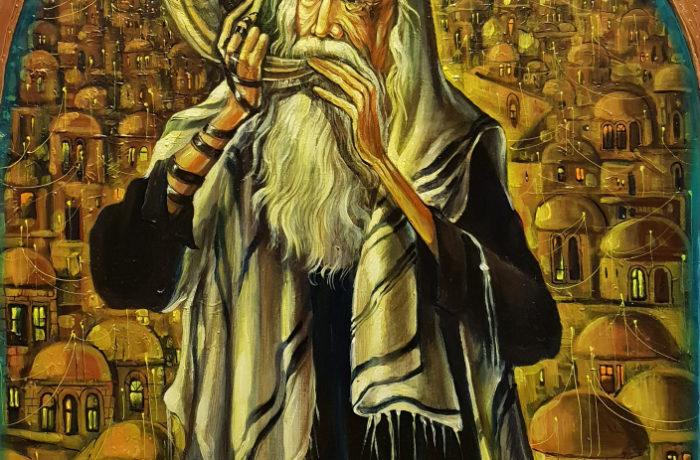 Original Oil Painting: Sounding the Shofar