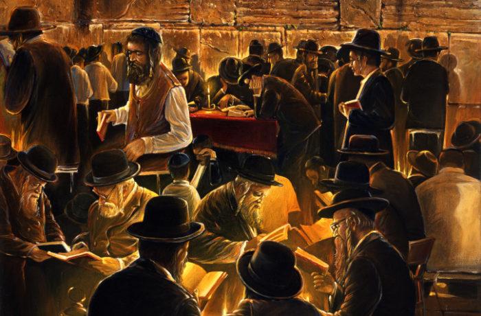 Original Oil Painting: By the Kotel at Tesha be Av