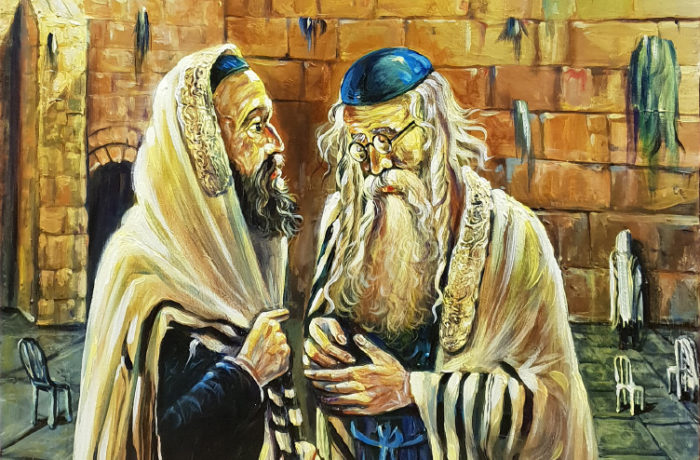 Original Oil Painting: Two men by the Kotel