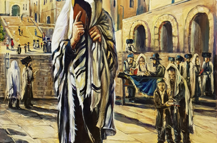 Original Oil Painting: Man praying the Kotel Plaza