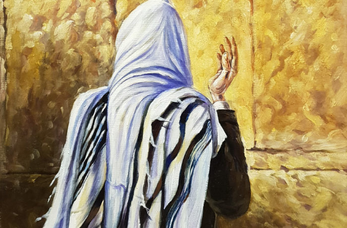 Original Oil Painting: Man praying by the Wall