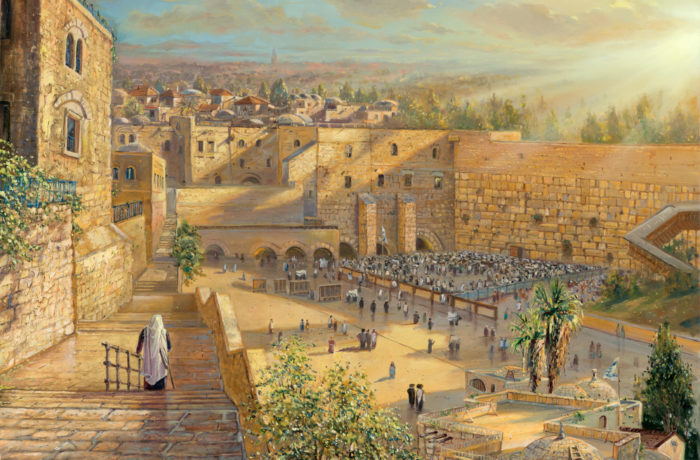 Painting: Sunrise behind the Kotel