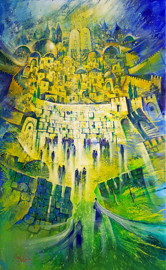 Original Oil Painting: All the paths lead to the holy city of Jerusalem
