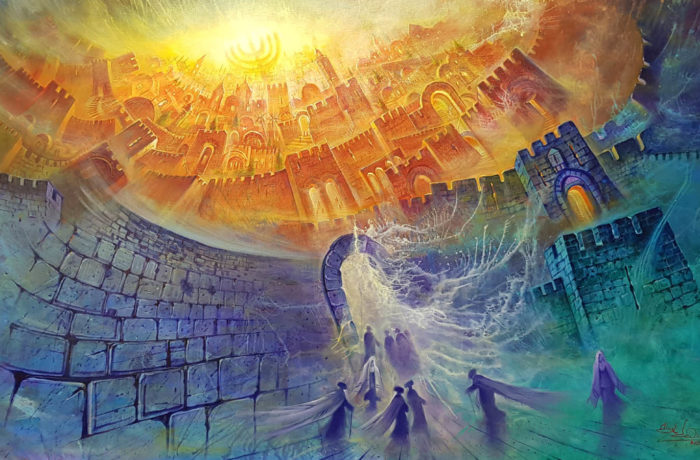 Original Oil Painting: Alluring aura of Jerusalems Menorah