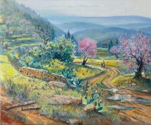 Almond Blossom around Jerusalem, Painting by Alex Levin