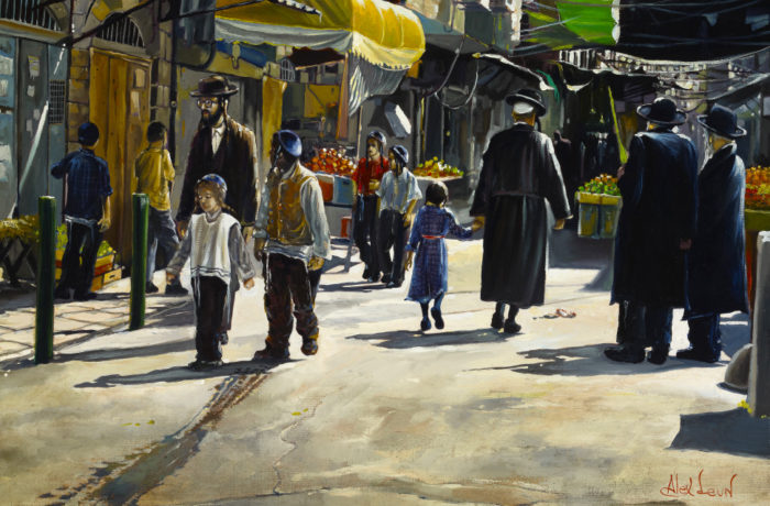 Original Oil Painting: At the market of Mea Shearim