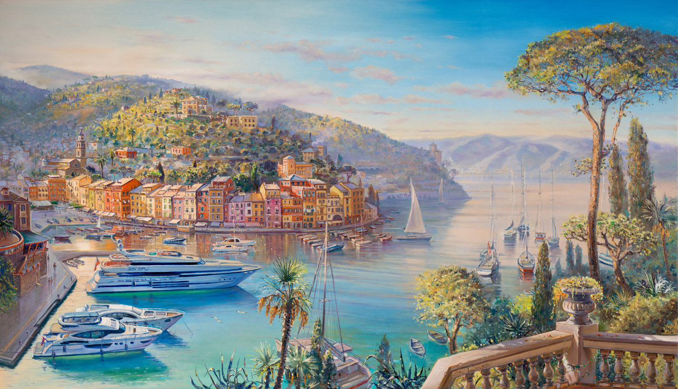 Beauty of Portofino, Italy, Painting by Alex Levin