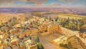 Birds eye view jerusalem