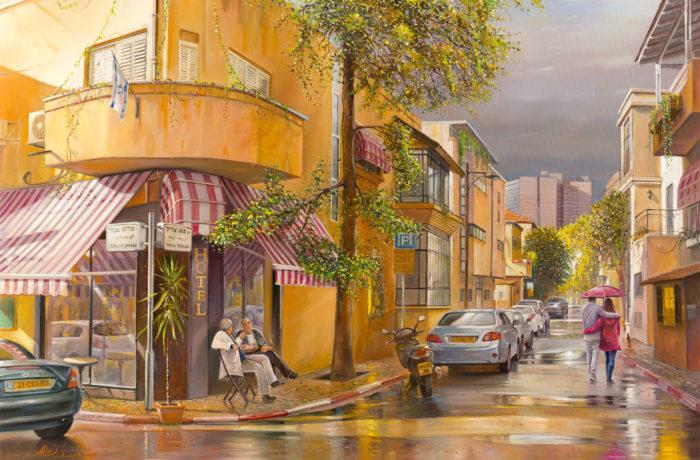 Original Oil Painting: Blissful rain is finally in Tel Aviv