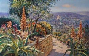 Blooming of Aloe in Ein Karem, Painting by Alex Levin