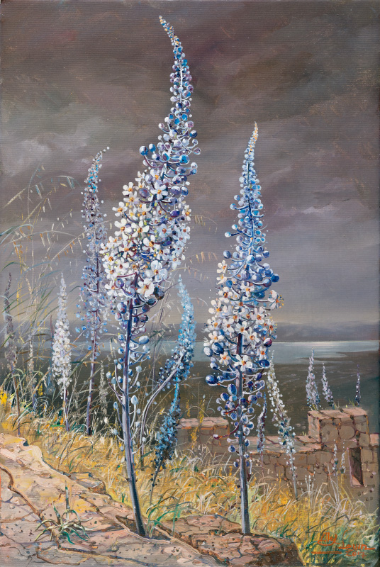 Blooming of Drimia on Masada, Painting by Alex Levin