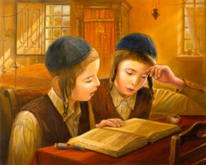 kids reading torah in school