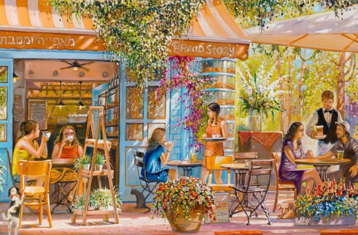 "Original Oil Painting: Cafe ""Bread Story"" in Tel Aviv"