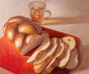 Challah with tea, Painting by Alex Levin