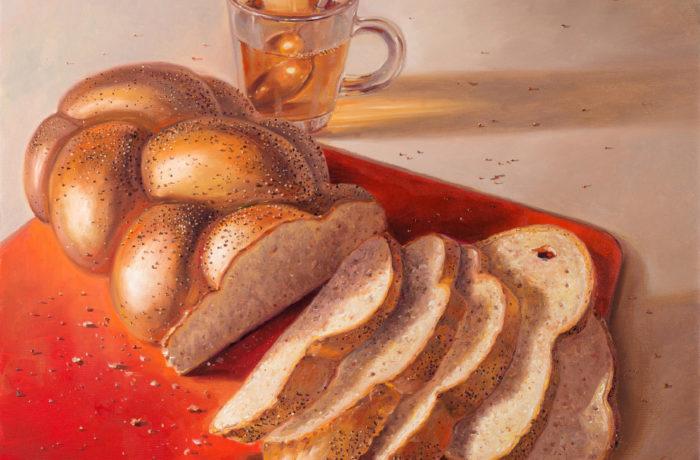 Original Oil Painting: Challah with tea