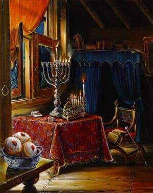 Chanukah lights and suvganiot