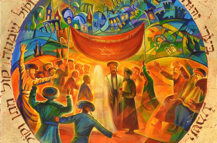 Original Oil Painting: Chuppah on the streets of Jerusalem