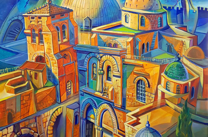 Original Oil Painting: Church of the Holy Sepulchre in Jerusalem