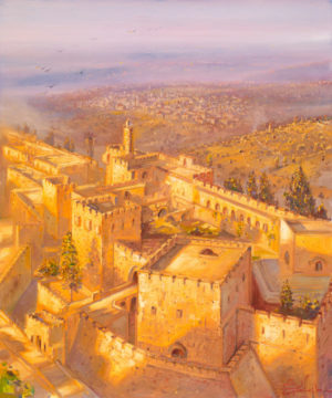 jerusalem City Walls, Painting by Alex Levin