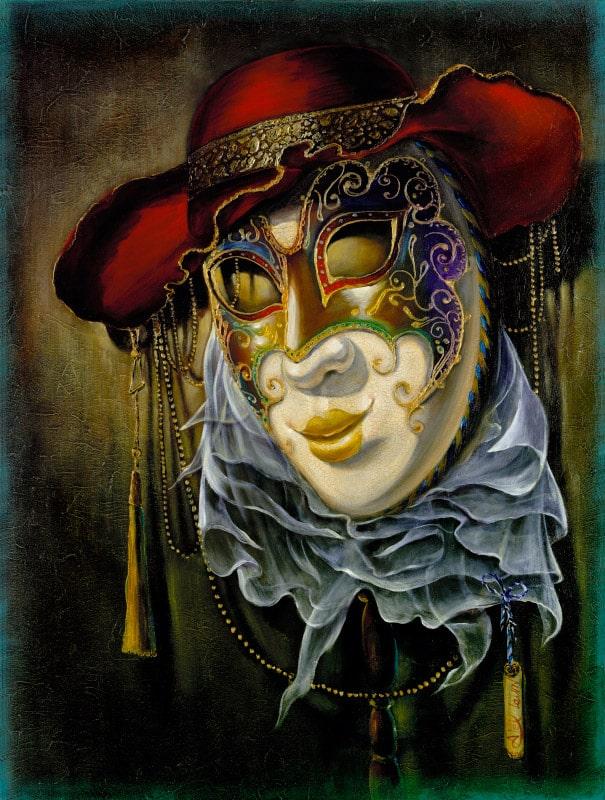 Original Oil Painting: Colombina Red Velvet