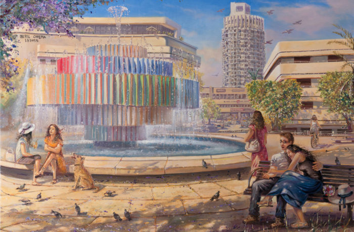 Original Oil Painting: Enjoying life in Tel Aviv
