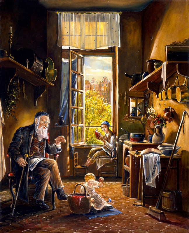 Original Oil Painting: Enjoying the grandson