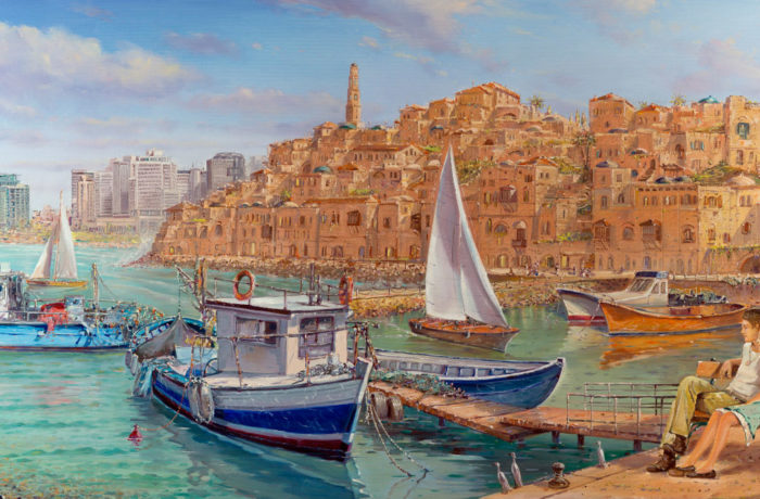 Original Oil Painting: Family time in beautiful Jaffa