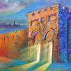 Painting: Glow from the Golden Gate in Jerusalem