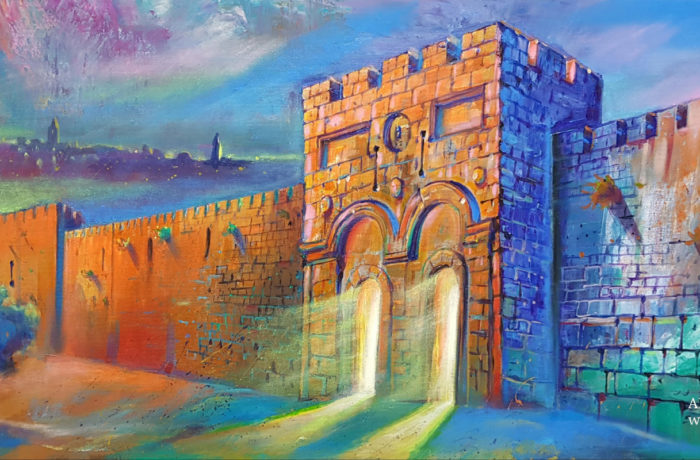 Original Oil Painting: Glow from the Golden Gate in Jerusalem