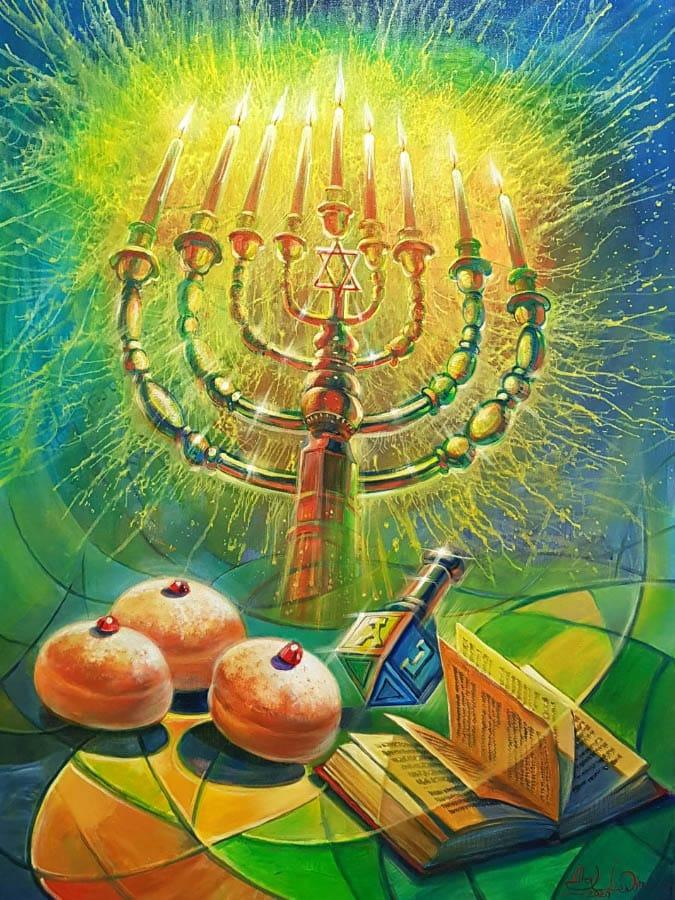 Original Oil Painting: Hanukkah – The Jewish Festival of Lights