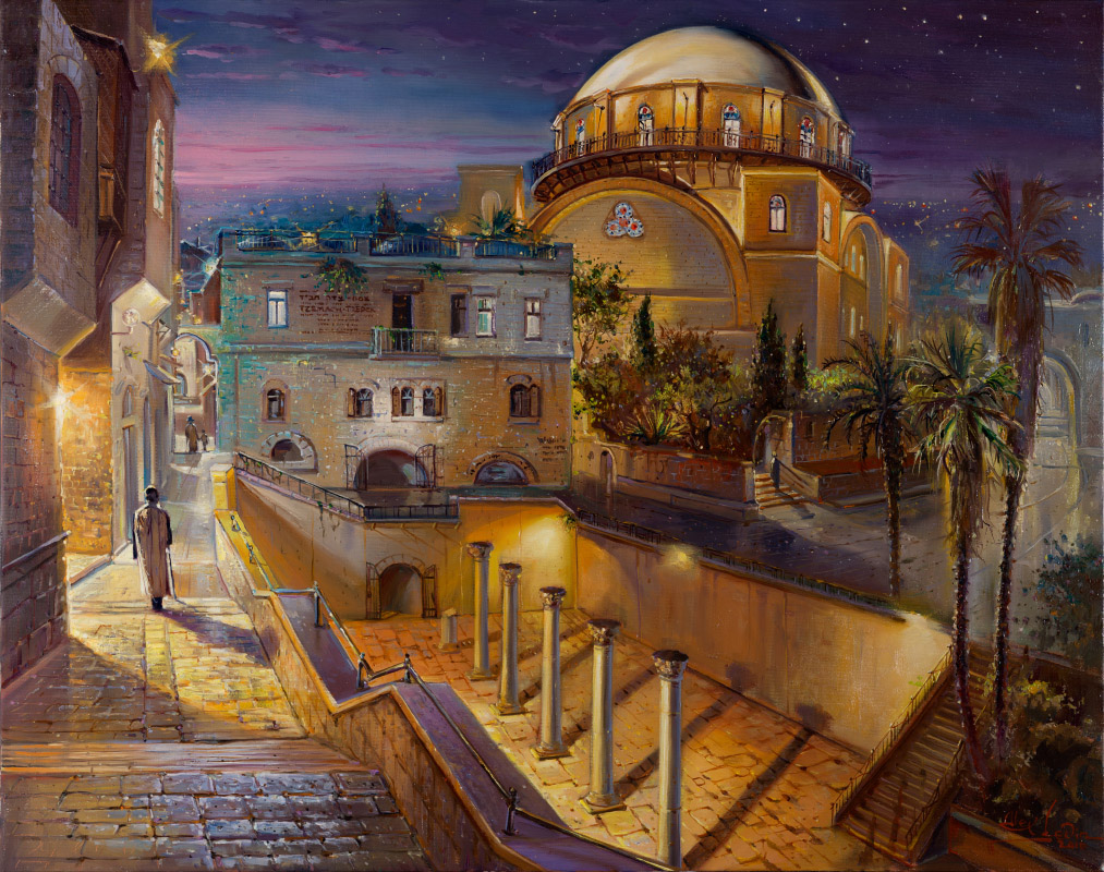 Hurva at Night, Painting by Alex Levin