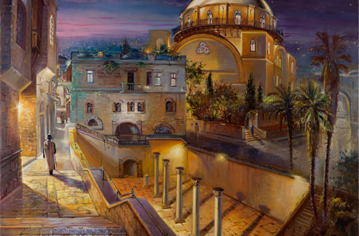 Original Oil Painting: Hurva at Night