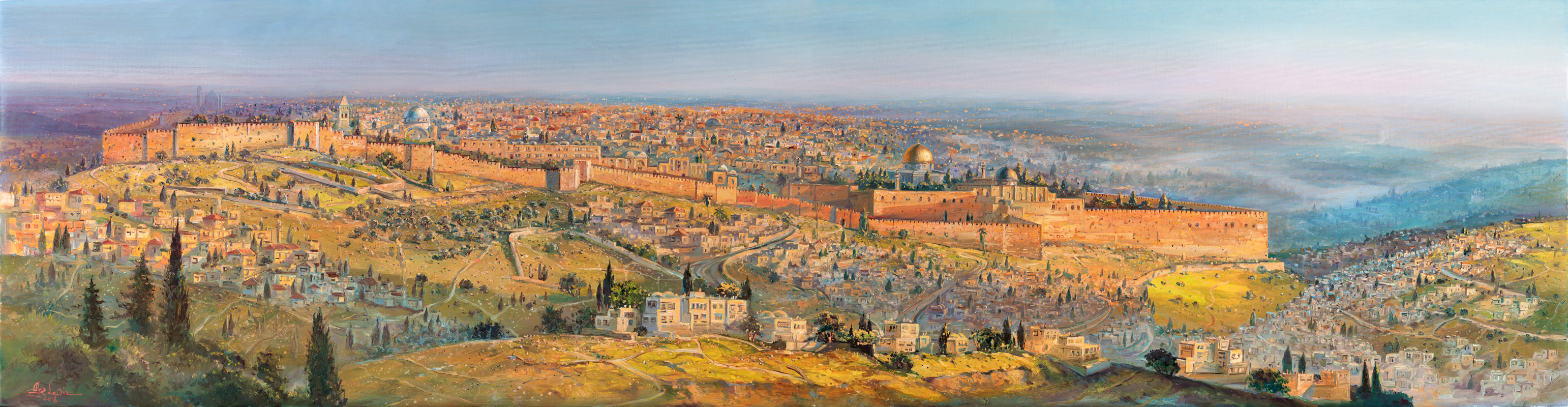 Jerusalem a City on Seven Hills, Painting by Alex Levin