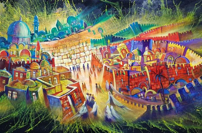 Original Oil Painting: Jerusalem at Night