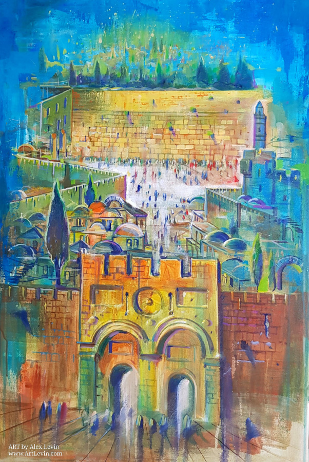 Original Oil Painting: Jerusalem at Night