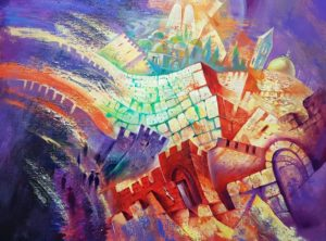 abstract jerusalem original painting