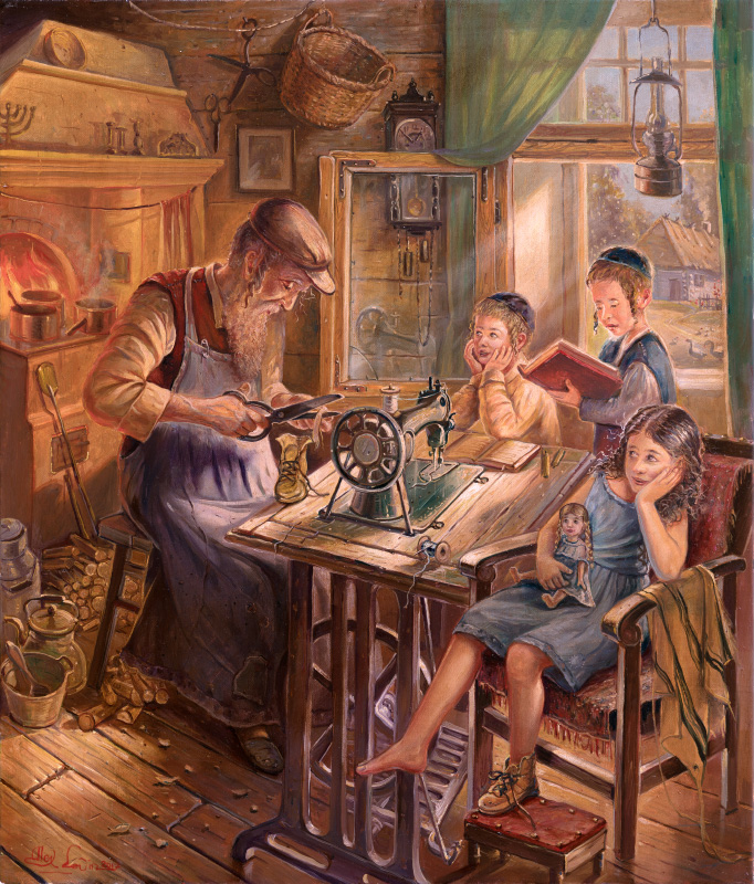 Original Oil Painting: Jewish Shoemaker