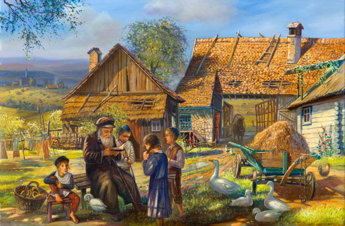 Original Oil Painting: Jewish life in Shtetl