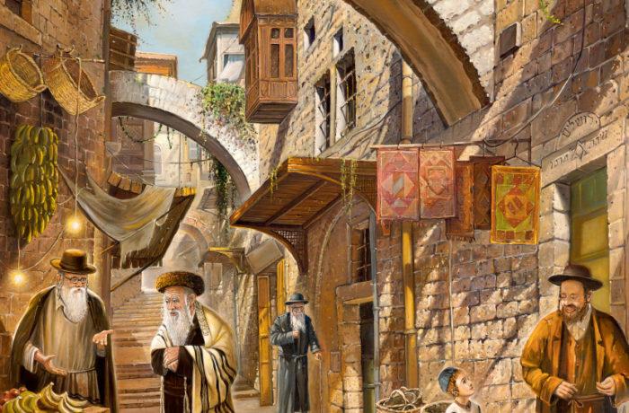Original Oil Painting: Last shopping before Shabbat