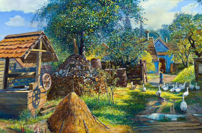 Painting: Life in shtetl