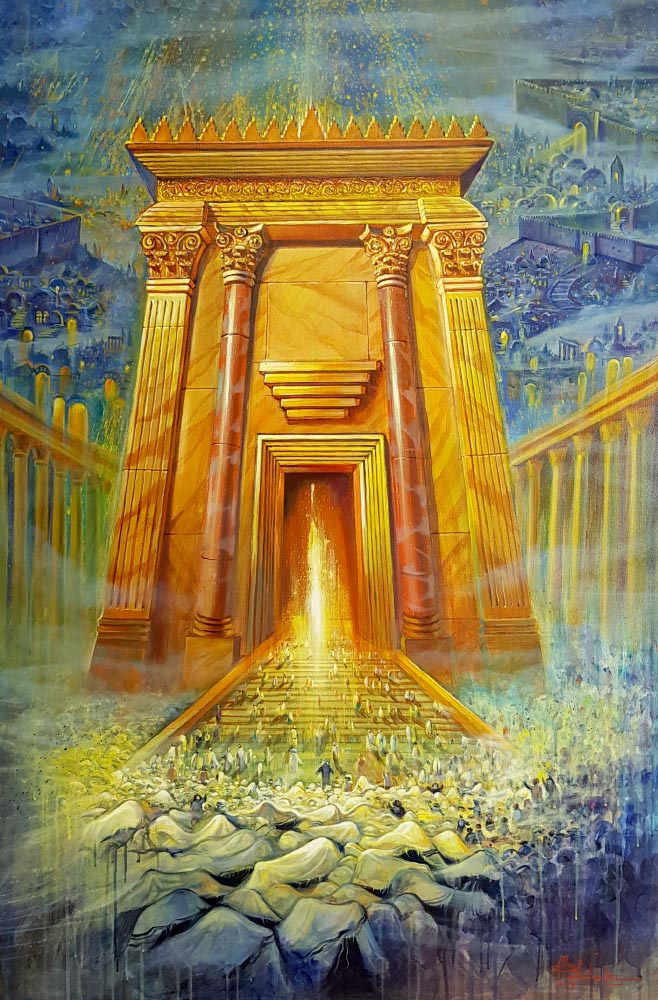 Original Oil Painting: Light of the Third Jerusalem Temple