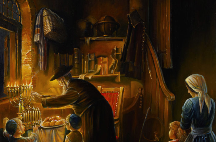 Original Oil Painting: Magnificent light of Menorah