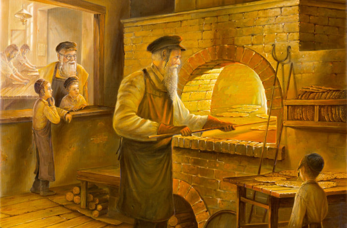 Original Oil Painting: Making Matzah