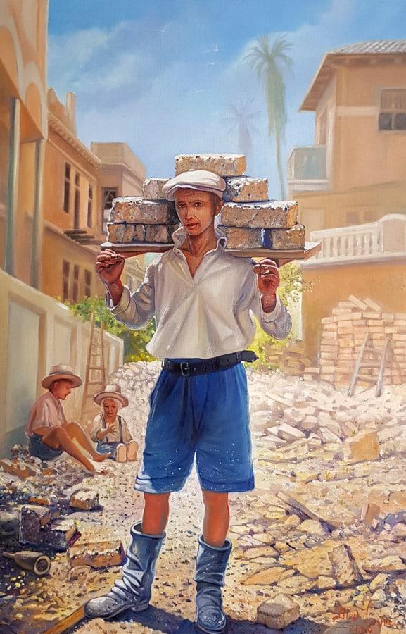 Original Oil Painting: First Jewish repatriate building Tel Aviv in 1920