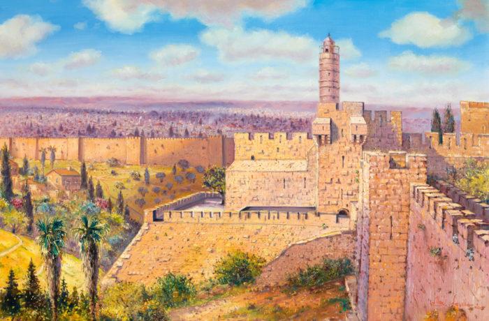 Original Oil Painting: Migdal David