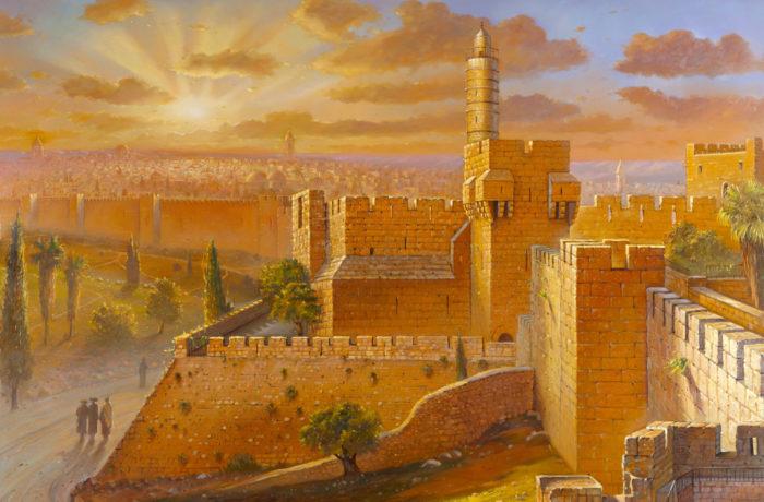 Original Oil Painting: Migdal David – morning Glow