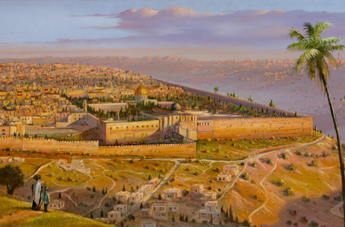 Original Oil Painting: Morning rising above Jerusalem