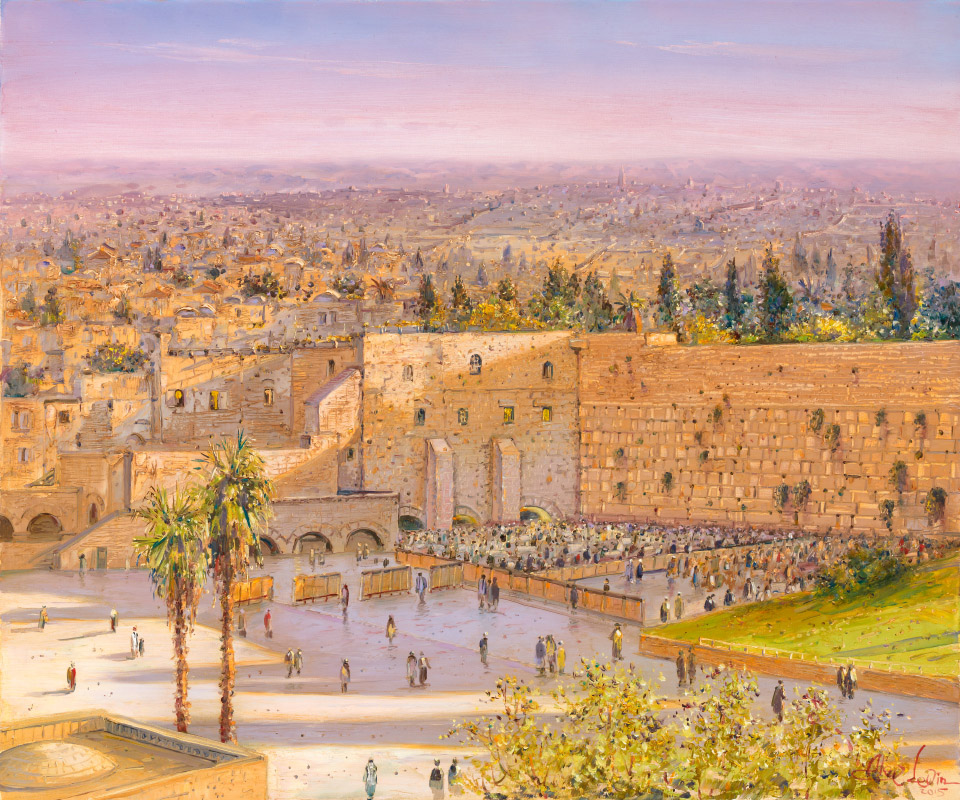 Morning by the Kotel, Painting by Alex Levin